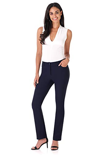 Rekucci Women's Iconic Stretch 5 Pocket Straight Leg Pant w/Zipper Closure (8,Navy) ()