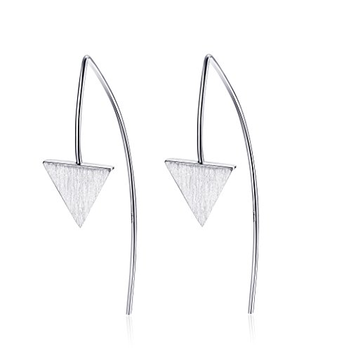 925 Sterling Silver Minimalist Triangle Bar Women Pierced Dangling Earrings Jewelry Gift (White Gold) (White Ribbon Earrings Gold)