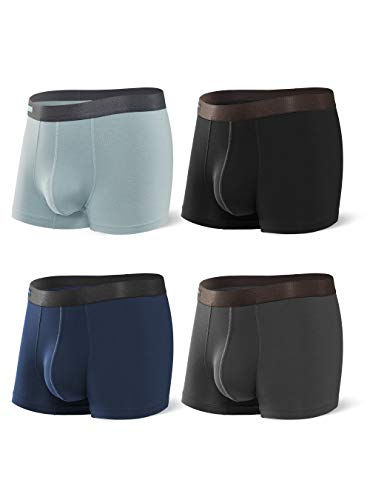 DAVID ARCHY Men's Underwear Bamboo Rayon Breathable Trunks Basic Solid Ultra Soft Underwear in 4 Pack