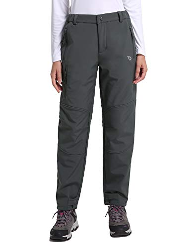 - Baleaf Women's Winter Hiking Pants Mountain Ski Trousers Fleece-Lined Water-Resistant Windproof Insulated Grey S