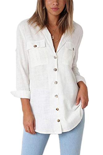 Ksnly Women V Neck Button Down Casual Cuffed Sleeve Blouse Shirt (Cuffed Sleeve Top)