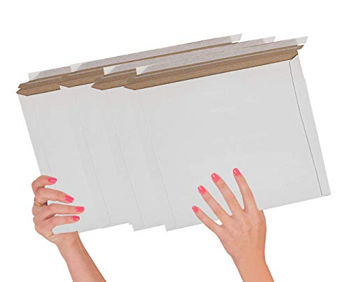 25 Pack Mailjackets Rigid Mailers 12.5 x 9.5. Large Paperboard Envelopes 12 1/2 x 9 1/2 Long Size Opening. Stay Flat, fiberboard, Compatible with USPS Express Mail envelopes. Peel and Seal.