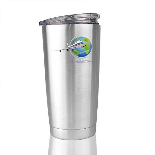 FOECBIR Aeroplane Boeing-747 Earth Globe Vacuum Insulated 20oz Stainless Steel Tumbler Travel Mug Car Cup