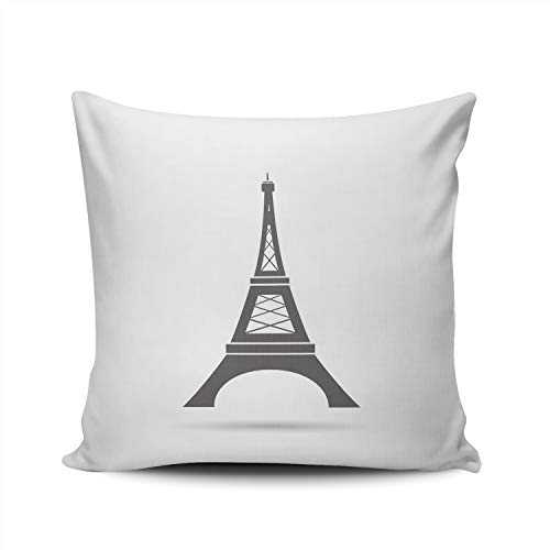 ONGING Decorative Throw Pillow Case Eiffel Tower Pillowcase Cushion Cover Double Sided Design Printed Square Size 22X22 Inch ()