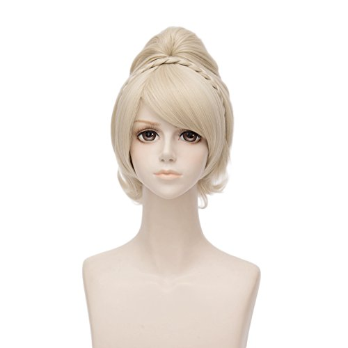 Fashion Light Blonde Short Curly Lolita Women's Cosplay Wig Heat Resistant + 25CM -