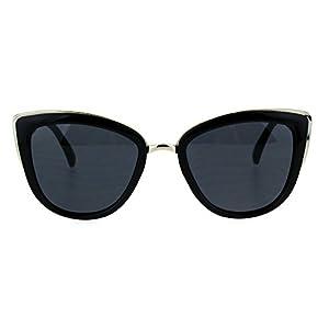 SA106 Runway Fashion Metal Bridge Trim Oversized Cat Eye Sunglasses All Black