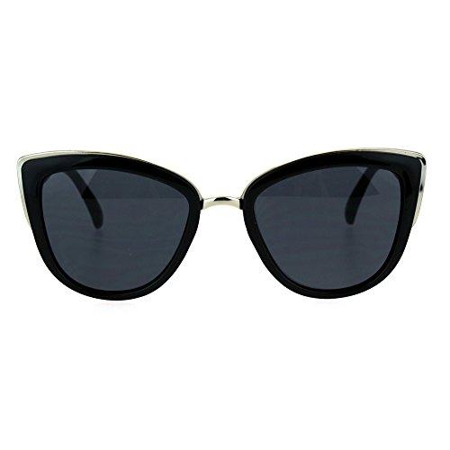 SA106 Runway Fashion Metal Bridge Trim Oversized Cat Eye Sunglasses All - Eye Cat Womens Sunglasses