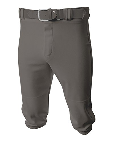Baseball/Softball Knee High Pants Grey/Dark Grey (No Side Piping) Youth Medium Old School - No With Baseball Pants Elastic