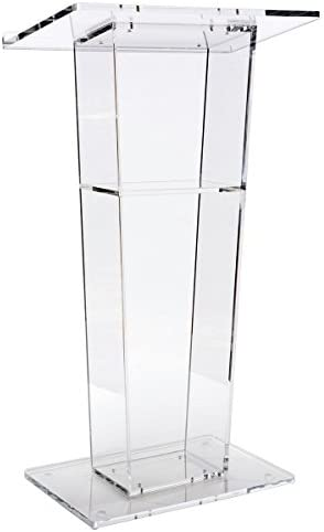 Lectern Podium, Clear Acrylic, 47 Inch Tall with Inner Shelf, Rubber Feet, 26.5 x 15.8 Inch Top Surface