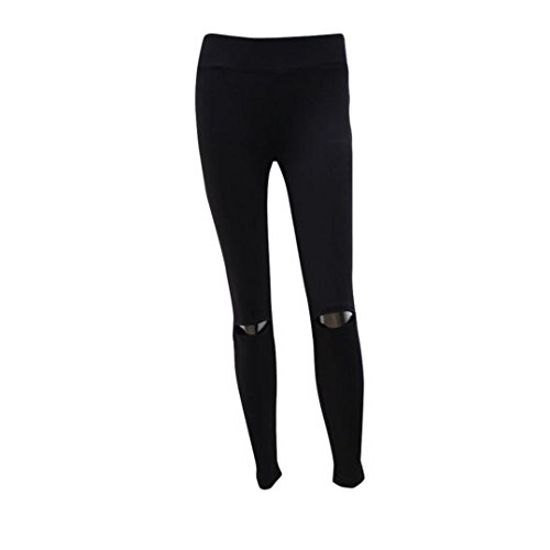 Ecurson Women Ripped Yoga Leggings Trousers Gym Fitness Running Exercise Sports Pant (XL)