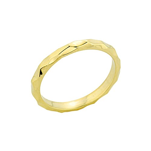 Solid 14k Yellow Gold Mid Finger Spike Band Midi Knuckle Ring, Size 4