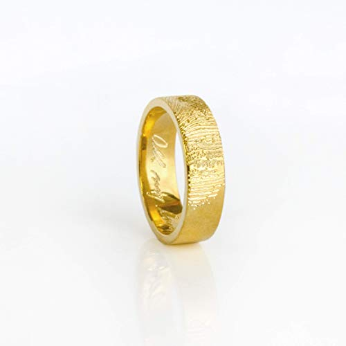 Custom Engraved Wide Fingerprint or Signature Ring, Gold Plated or Sterling Silver Wedding Band for Men or Women [R6]