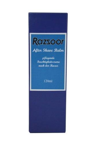 RAZZOOR After Shave Balm - Pflegender Balsam nach der Rasur aus natürlichen Ölen - schützt gegen Rasurbrand, Pickel, Hautirritationen (ohne Alkohol, zieht schnell ein, fettet nicht) - 120 ml Tube