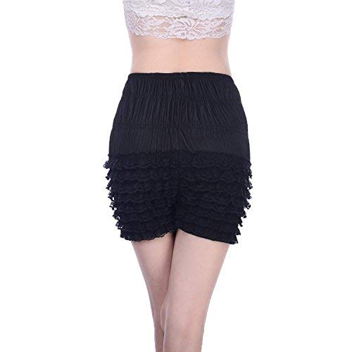 Women's Micromesh Lace Ruffle Tanga Shorts Sexy Ruffled Lace Panties Sissy Pettipant Dance Bloomers Frilly Shorts (Black, Medium) - Bloomers Lace Ruffled
