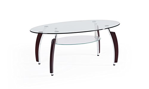 - Hodedah Two Tier Oval Tempered Glass Coffee Table, Clear