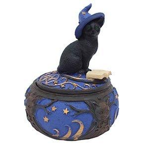 Magical Black Cat Sorcerer Witch Hat with Spell Book Trinket Box Secret Stash 5