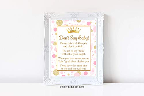aby, Pink and Gold Baby Shower, Baby Shower Games, Princess Baby Shower, 8x10 Glossy Sign ()