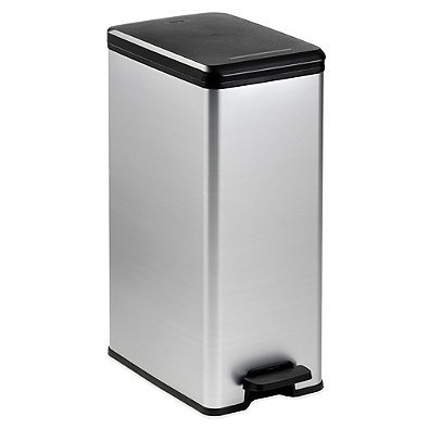 Slim Metallic 40-Liter Trash Can (1, SILVER)
