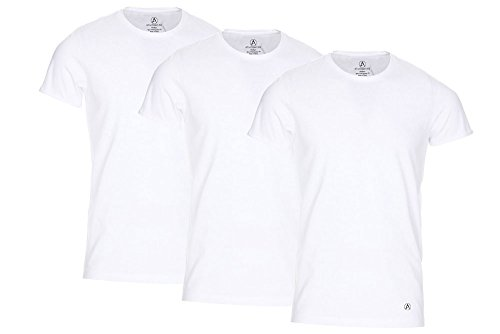 AtmosWear Mens Undershirt | Extra-Long Tagless Breathable Crew Neck Undershirt (3 Pack) (Large)