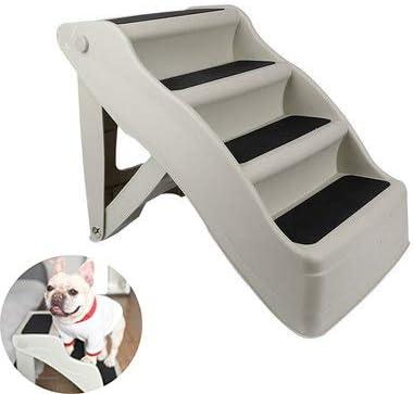 WTTTTW Escaleras para Mascotas, peldaños Antideslizantes Plegables para Perros y Gatos, Ideal para Mascotas pequeñas de Patas Cortas Durable para Interiores o Exteriores 3/4 Pasos,A: Amazon.es: Deportes y aire libre