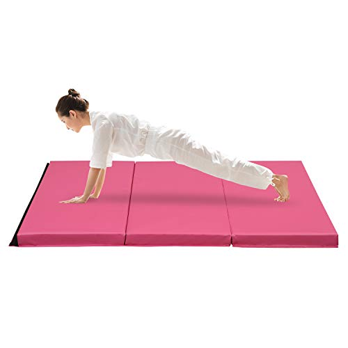 ZENOVA Gymnastics Mats High Density Foam 3 inch Thick Heavy Duty Folding Crash Mat Landing Mats (PVC-Pink)