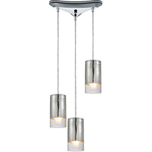 - Pendants 3 Light Fixtures with Polished Chrome Finish Glass/Metal Material Medium Bulb 10