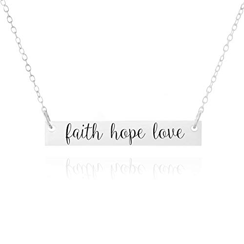 FAITH NECKLACE - FAITH HOPE LOVE Necklace - PURE Sterling Silver Necklace (Handmade in the USA by Gracefully Made Jewelry)