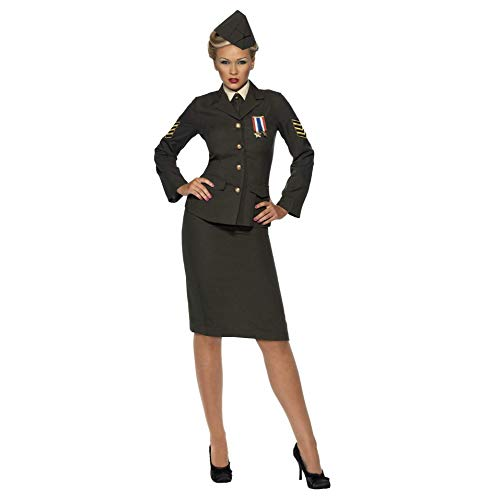 Smiffys Women's Wartime Officer Costume, Skirt, Jacket with Medal, Shirt Front, Tie and Hat, Troops, Serious Fun, Size 6-8, -