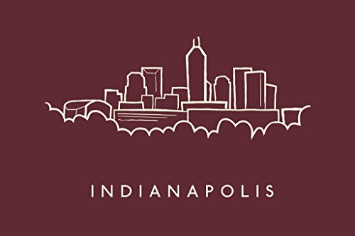 Indianapolis City Skyline Pencil Sketch Art Print Poster 18x12 inch - Indianapolis Colts Pencil