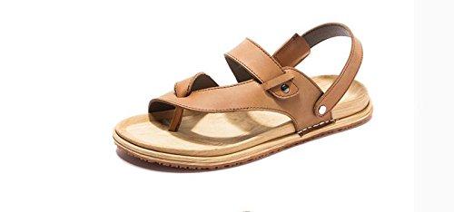JiZhi Uomo scarpe / estate antisdrucciolevole sandali / ciabatte / infradito / clip piedi traspirante / scarpe da spiaggia / casuali tallone piano / Walking , brown , 44
