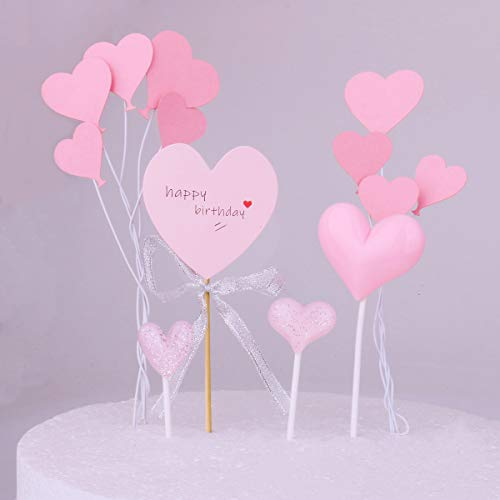 Restards Pink Heart Cake Toppers Happy Birthday Cake Topper Series Lovely Heart Cake Decorations for Baby Shower Birthday Party