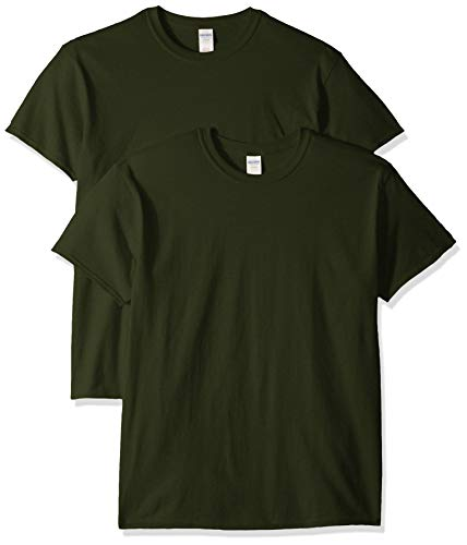 Gildan Men's Heavy Cotton Adult T-Shirt, 2-Pack, Forest Green, 2X-Large