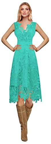 MaliaDress Women Vintage Floral Lace Swing Prom Dress M244LF Turquoise US4