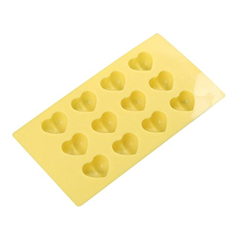 Vacally Ice Cube,Heart 12-Cavity Silicone Ice Cubs Muffin, Cupcake, Brownie, Cornbread, Cheesecake, Panna Cotta, Pudding, Jello Shot and Soap Mold (Yellow) -