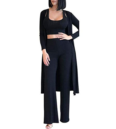 Katblink Women's Fall Ribbed High Waist Pant Bodycon Evening 3 Piece Set Black M ()