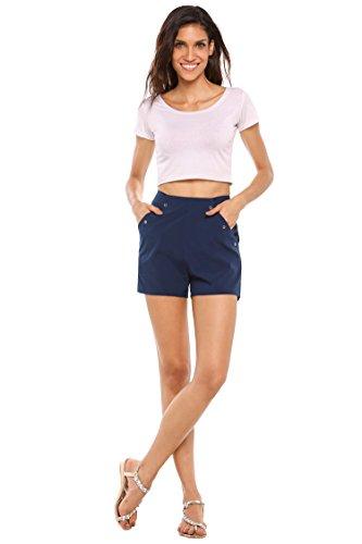 Zeagoo Women's High Rise Cotton Chino Short Solid Casual Twill Shorts Navy Medium