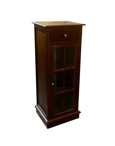 (Offex Hallway Mahogany Wood Solid 1 Door 1 Drawer Display Cabinet )