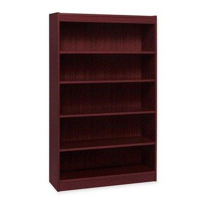 (Lorell Panel End Mahog. Hardwood Veneer Bookcases-5 Shelf Panel Bookcase, 36quot;Wx12quot;Dx60quot;H, Mahogany)