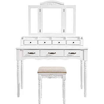 Amazon Com Naples White Vanity Table Amp Bench By Home