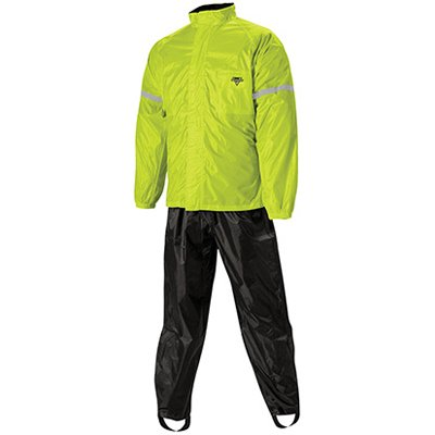 Nelson-Rigg WP-8000 Weatherpro Men's 2-Piece Sports Bike Motorcycle Rain Suits - Black/Hi-Visibility Yellow / Large