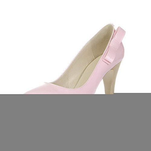 VogueZone009 Womens Closed Toe Pointed Toe High Heels Patent Leather Microfibre Solid Pumps with Bowknot, Pink, 3 UK