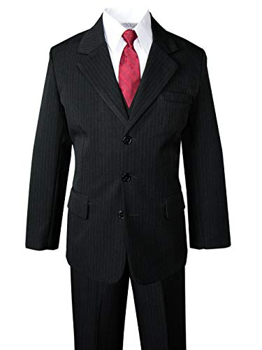 Spring Notion Big Boys' Pinstripe Suit Set Black-Red Tie 5