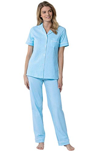 PajamaGram Pajamas for Women Soft - Polka Dot Pajamas for Women, Blue, L, 12-14