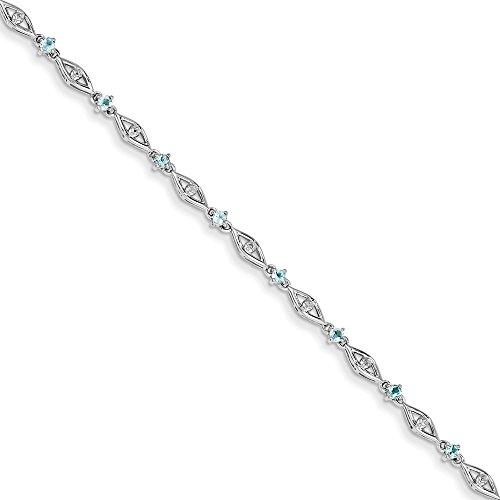 Argent 925/1000-Topaze bleue-Diamant-JewelryWeb Bracelet