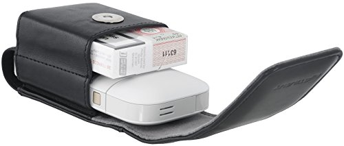 StilGut Zigarettenetui, IQOS-Case. Tasche für elektronischen Zigaretten-Set 2 in 1, Cognac Schwarz - 2-in-1