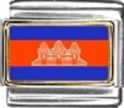 Esmalte para pulsera de la bandera de Camboya - - 9 mm compatible con diseño de bandera de Italia para pulsera nominación classic