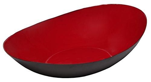 Melange Home Decor Modern Collection, 14-inch Boat Bowl, Color - Paprika Red (Large Decorative Red Bowl)