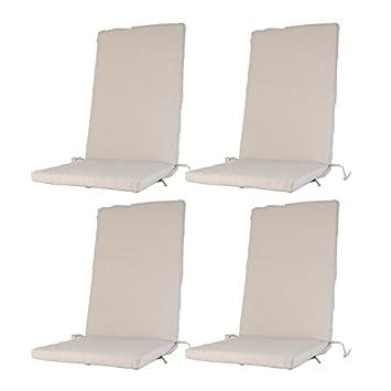 Edenjardi Pack 4 Cojines de Exterior para sillones reclinables Color Lux Arena | Tamaño 114x48x5 cm | Repelente al Agua | Desenfundable | Portes ...