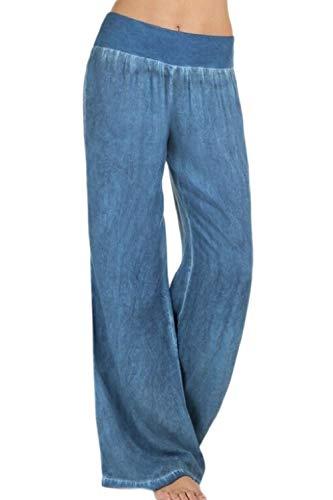 yulinge Las Mujeres Jeans Cintura Elastica Loose Denim Pantalones Largos Plus Size Azul