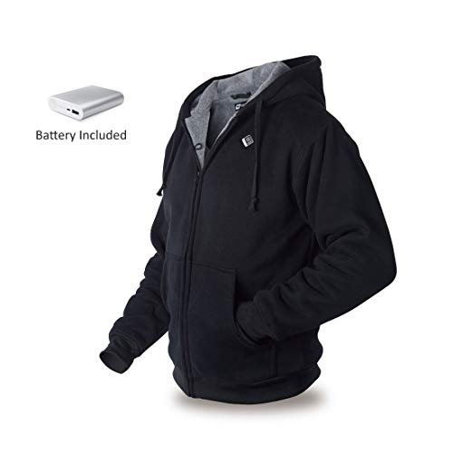 VentureHeat Evolve Unisex-Adult 5V USB Power Bank Battery Heated Hoodie (Black, (Best Midwest Man Christmas)